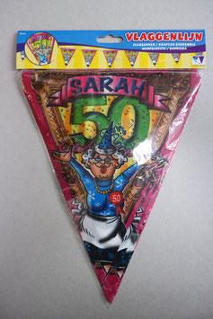 Vlaggenlijn leeftijd '50 Sarah' 10 meter (beide kanten geprint)