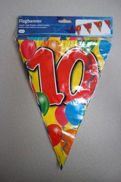 Vlaggenlijn leeftijd '10' 10 meter (beide kanten geprint)