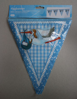 Vlaggenlijn 'Jongen/Meisje', 27 cm hoogte, 10 meter lengte (15 vlaggen, beide kanten)