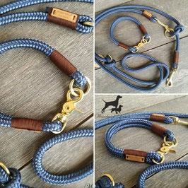 Leine und Halsung Marineblau mit Braun