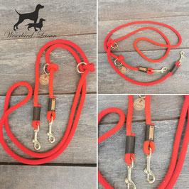 Hundeleine Rot mit Goldbeige