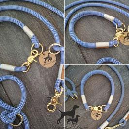 Halsung Blauweiß mit Weiß