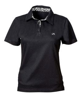 Polo-Hemd Frauen schwarz mit Animalprint
