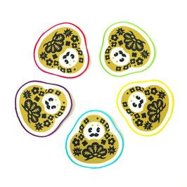 黄土色【ひゃくまんコースター】各色1枚ずつ5枚セット
