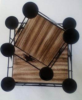 Set Tablett Teelichthalter Tanne Weihnachten Advent Holz Metall Schwarz