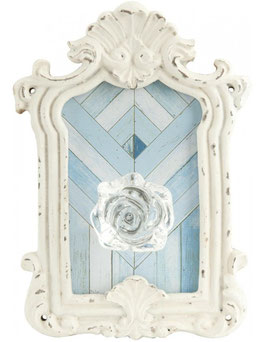 Haken Wandhaken Weiß Blau Shabby Look Clayre & Eef 13 x 19 cm