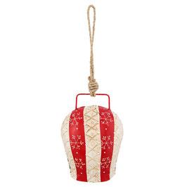 Glocke Schneeflocke Rot Weiß Eisen Aufhänger Clayre & Eef