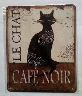 Blechschild Katze Schwarz Le Chat Cafe Noir 20 x 25 cm