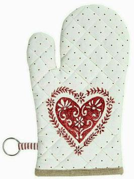 Handschuh Küchenhandschuh Ofenhandschuh Weiß Rot Herz / Punkte 16 x 30