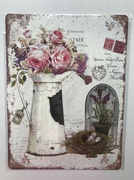 Blechschild Postkarte Belgien Kanne Rosen Nest Traubenhyazinthen Vintage Landhaus 33 x 25 cm