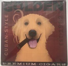 Blechschild Schild Hund Golden Retriever Clayre & Eef 30 x 30