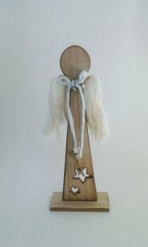 Engel Standengel Holz Flügel Weiß Gold Sterne 45 cm Weihnachten