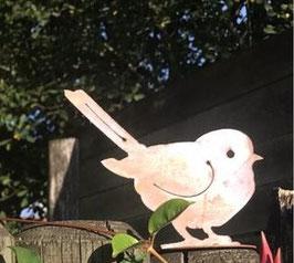 Vogel M Edelrost auf Platte Stamm Holz Garten