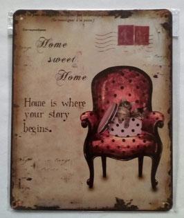 Blechschild Home sweet Home Katzen Sessel 20 x 25 cm