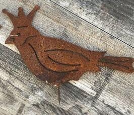 Vogel Zaunhocker König Krone Rost 17 x 12