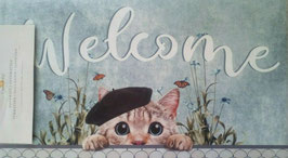 Fußmatte Türmatte Welcome Katze 74 & 44 cm Clayre & Eef