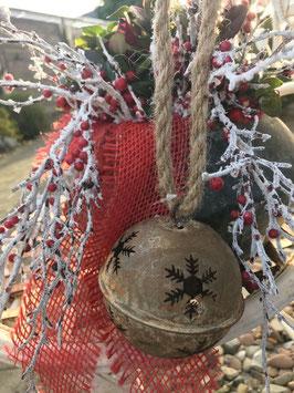 Glocke Schneeflocke Antique Seil Aufhängung  D: 8cm