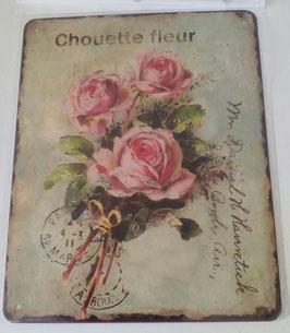 Blechschild Bild Rosen Chouette Fleur Shabby 20 x 25 cm