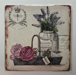 Blechschild Royal Garden Korb Lavendel Rosen Landhaus 30 x 30 cm