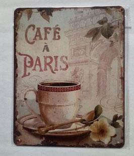 Blechschild Cafe A` Paris 20 x 25 cm