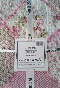 Tagesdecke Überwurf Plaid Romantisch 140 x 200 cm Rosa Weiß