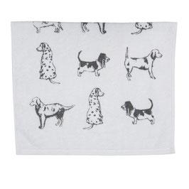 2 Gästehandtücher Hunde Weis Grau 100 % Baumwolle 40 x 60 Clayre & Eef