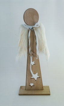 Engel Standengel Holz Flügel Weiß Gold Sterne 57 cm Weihnachten