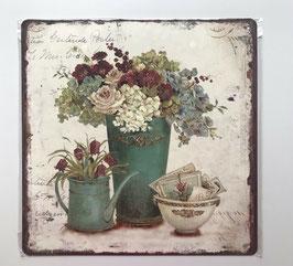 Blechschild Vintage Kanne Vase Schale Blumen  30 x 30