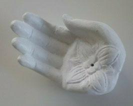 Skulptur Hand Lotus Blüte Weiß Stein 15 x 10 x 6 cm