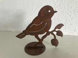Vogel G auf Zweig Platte Edelrost für Stamm Holz Garten