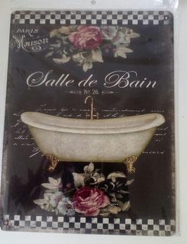 Blechschild Rosen Badewanne Salle de Bain 33 x 25 cm Shabby