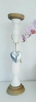 Kerzenständer Holz Weiß Braun Herz Metall