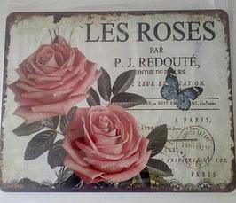 Blechschild Les Roses Rosa Beige  20 x 25 cm