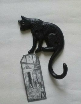 Haken Katze 1ner Schwarz Esschert Design 11 x 15 cm