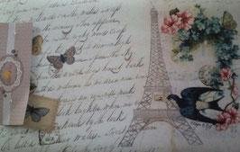 Fußmatte Clayre & Eef Eifelturm Schmetterlinge