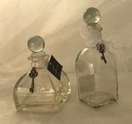Flasche Karaffe Set 2 Stck. Glas Schleife Weiß Schlüssel 14 cm Countryfield
