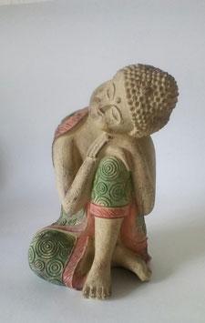 Buddha Schlafend Grün Beige Pink  22 cm