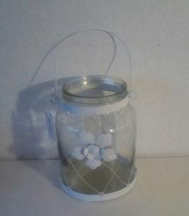 Windlicht Glas Metallnetz Blume 21 cm Countryfield