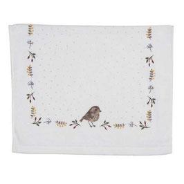 2 Gästehandtücher Vogel Weiß Bunt Kleine Punkte 40 x 60 Clayre & Eef