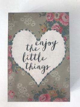 "Bild Clayre & Eef Bunt Holz Spruch: "" Enjoy the little things""  9 x 2 x 13 cm"