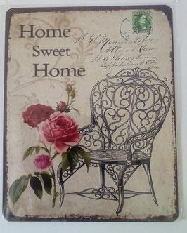 Blechschild Rosen Stuhl Spruch Home Sweet Home 20 x 25 cm Shabby