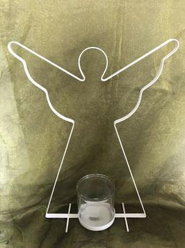 Windlicht Engel Weiß Metall 53 x 33 cm Glas 12 x 12 cm