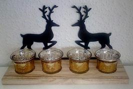 Teelichthalter Advent Weihnachten Deko Hirsch Holz Metall Schwarz Glas Gold