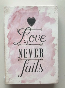 Bild Bunt Holz Hinstellen oder Aufhängen -Love never fails - 9 x 13 cm