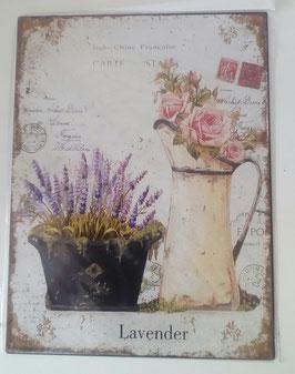 Blechschild Lavendel Krug Rosen 33 x 25 cm