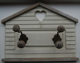 Garderobe Haus 2 er Wandhaken Holz Weiß 32 x 12