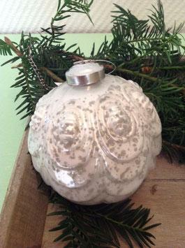 Kugel Weihnachtskugel 2 Stck. Baumschmuck Set Creme Grau Shabby 11 cm