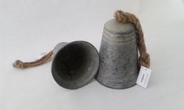 2 Glocken Grau Zink Seil Aufhängung 16 und 19 cm Weihnachten