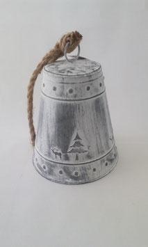Glocke Groß Weiß Grau Shabby Elch Tanne Seil Aufhängung 26 cm Glocke Weihnachten