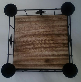 Tablett Teelichthalter Tanne Weihnachten Advent Holz Metall Schwarz 25 x 25